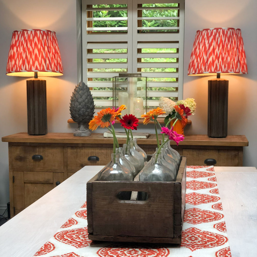 Table runner and decoration with co-ordinating fabric lamp shades