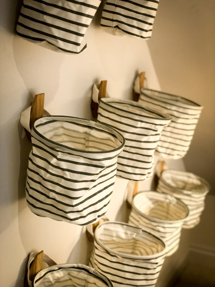 country-fabric storage baskets