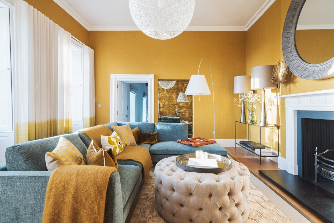 Vibrant Drawing Room with handmade upholstery and bespoke window treatments