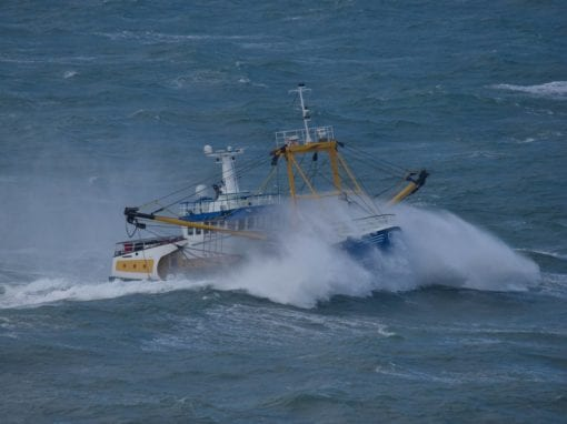 Brixham trawler Our Miranda experiencing the fallout from storm Erik2